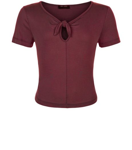 Teens Burgundy Bow Front T-shirt | New Look