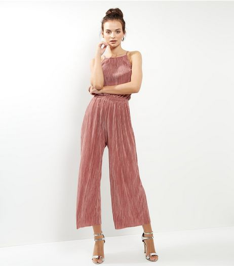 Cameo Rose Pink High Neck Pleated Jump Suit | New Look