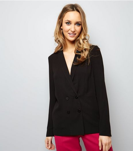 Black Crepe Button Front Blazer  | New Look