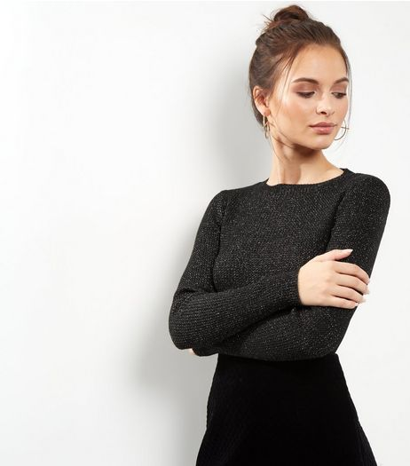 Black Metallic Ribbed Long Sleeve Jumper  | New Look