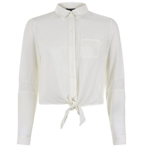 Teens Cream Tie Front Shirt | New Look