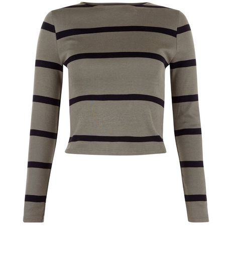 Teens Khaki Stripe Ribbed Long Sleeve Top | New Look