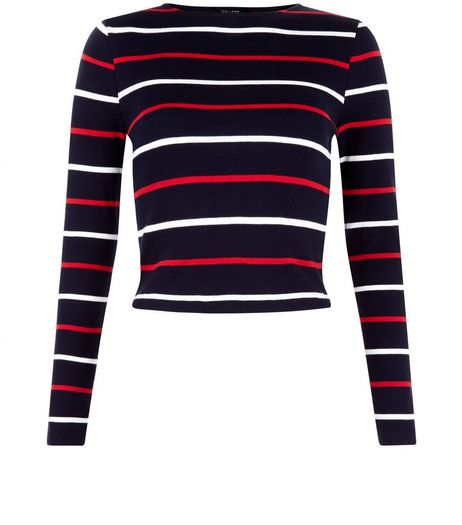 Teens Blue Stripe Ribbed Long Sleeve Top | New Look