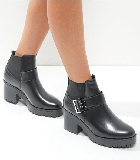 Wide Fit Black Buckle Strap Chunky Ankle Boots | New Look