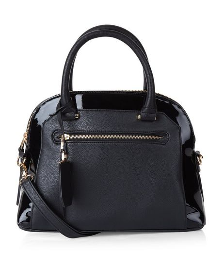 Black Patent Trim Bowler Bag | New Look