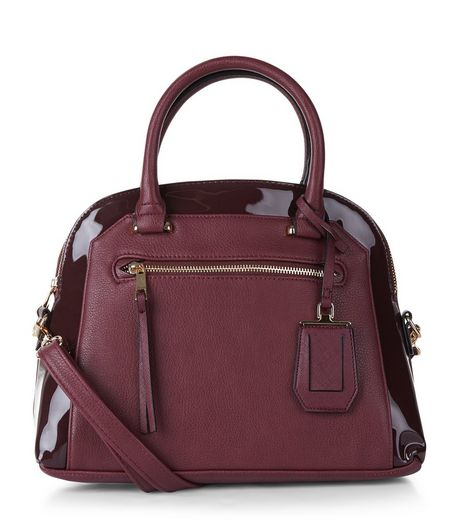 Burgundy Patent Trim Bowler Bag | New Look