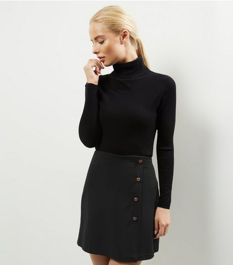 Black Button Front Mini Skirt | New Look