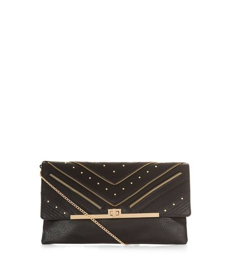Black Leather-Look Gold Stud Clutch | New Look