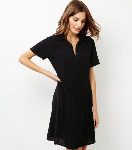 Black Tie Back Short Sleeve Shirt Dress | New Look