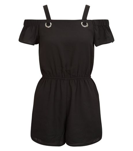 Teens Black Eyelet Strap Bardot Neck Playsuit | New Look