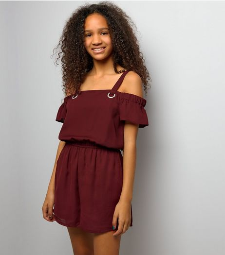 Teens Burgundy Eyelet Strap Bardot Neck Playsuit | New Look