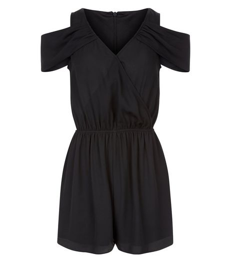 Teens Black Wrap Front Cold Shoulder Playsuit | New Look