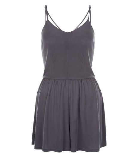 Teens Grey Cross Strap Back Playsuit | New Look