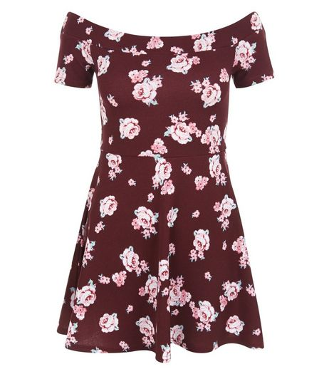 Teens Red Floral Print Bardot Neck Dress | New Look