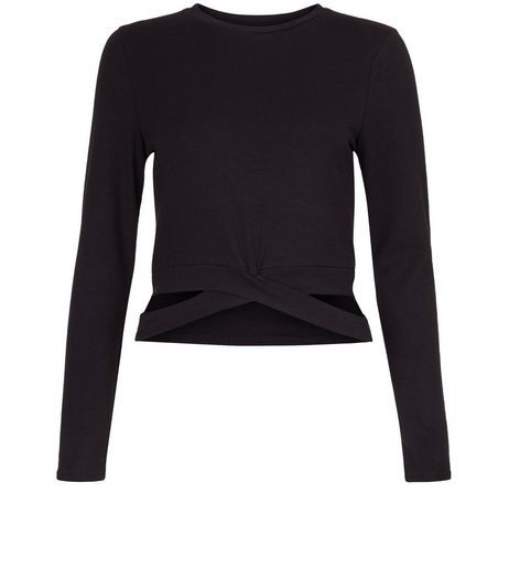 Teens Black Strap Hem Long Sleeve Top | New Look