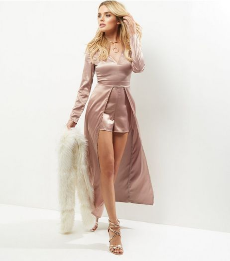 Bronze Sateen Plunge V Neck Maxi Playsuit | New Look