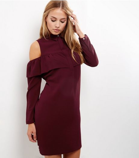 Burgundy Frill Trim Cold Shoulder Shirt Dress | New Look