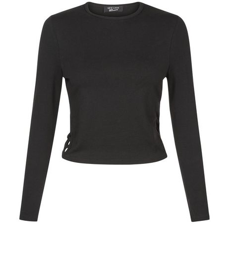 Teens Black Lattice Side Crew Neck Top | New Look