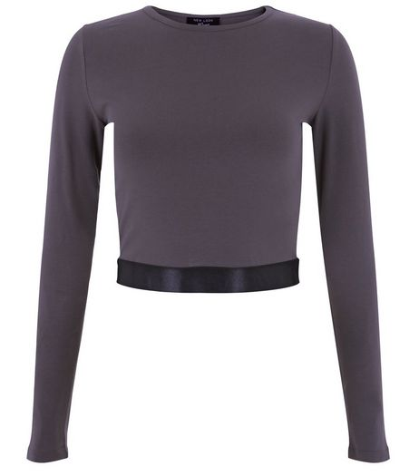 Teens Dark Grey Sateen Hem Crop Top | New Look