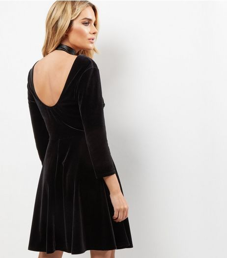 Black Scooped Back Velvet Skater Dress | New Look