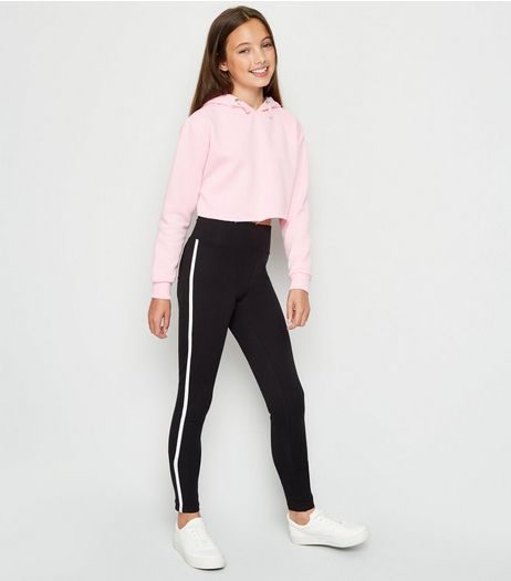 Teens Black Side Stripe Leggings | New Look