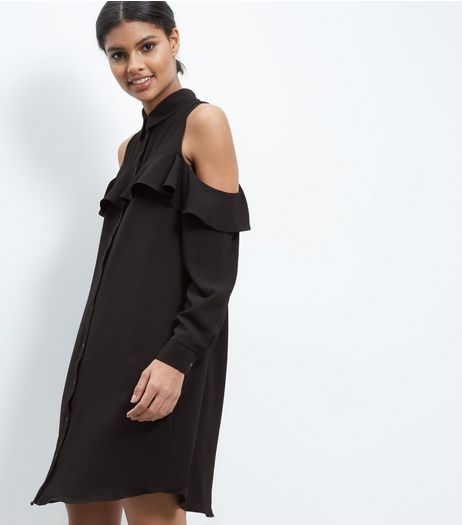 Cameo Rose Black Cold Shoulder Frill Trim Shirt Dress | New Look