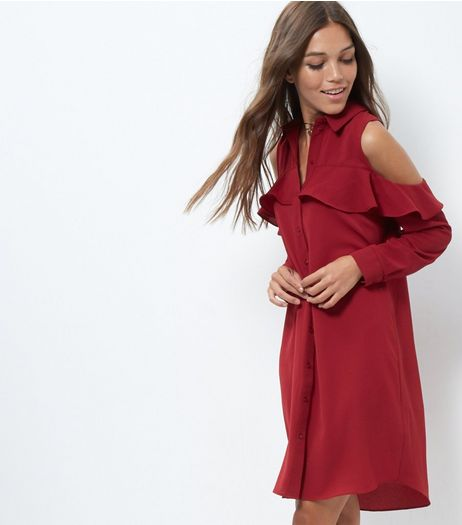 Cameo Rose Burgundy Cold Shoulder Shirt Dress | New Look