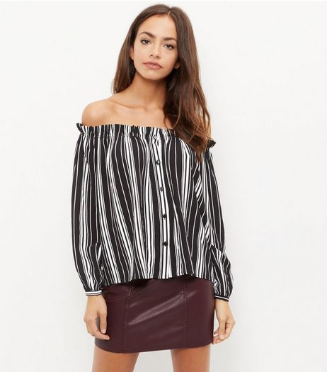 Cameo Rose Stripe Bardot Neck Top | New Look