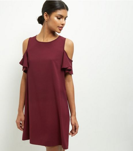 Cameo Rose Burgundy Cold Shoulder Frill Sleeve Dress | New Look