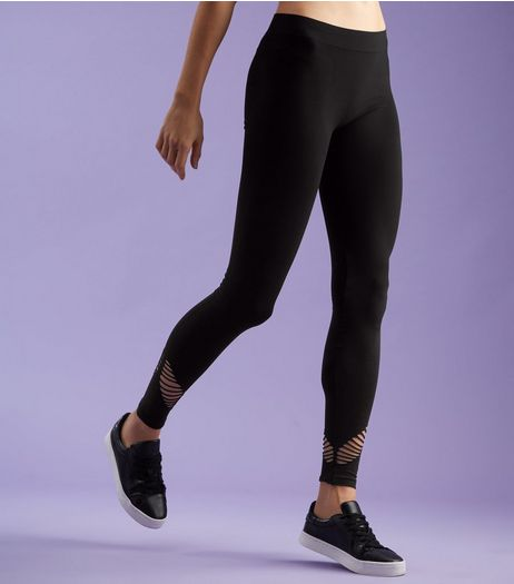Black Cut Out Panel Sports Leggings  | New Look