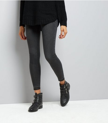 Black Washed Drop Hem Jeggings  | New Look