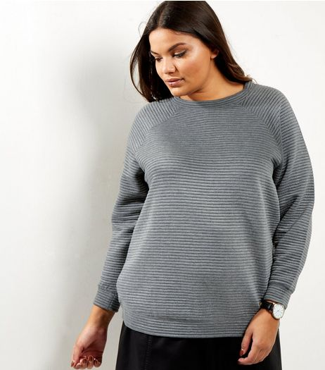 Curves Dark Grey Ribbed Crew Neck Sweater | New Look