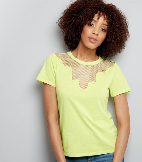 Yellow Mesh Panel Short Sleeve T-Shirt  | New Look