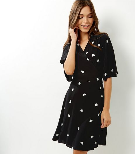 Black Heart Print Wrap Front Dress | New Look