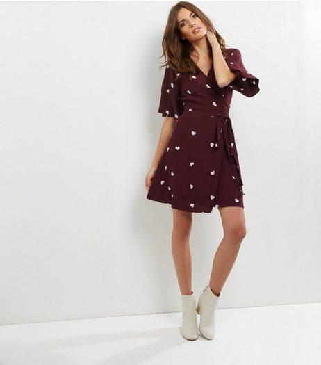 Red Heart Print V Neck Wrap Front Dress | New Look