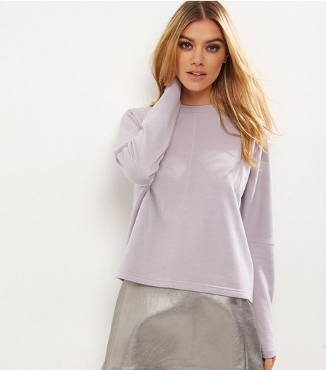 Lilac Batwing Sleeve Cropped Sweater  | New Look