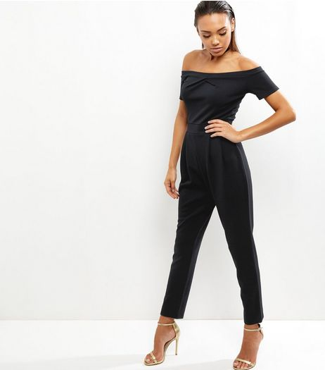 Black Bardot Neck Twist Front Jumpsuit | New Look