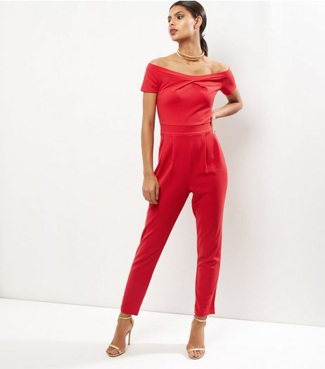 Dark Red Bardot Neck Twist Front Jumpsuit  | New Look