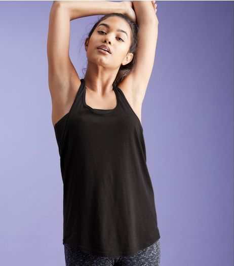 Black Mesh Back Sports Vest  | New Look
