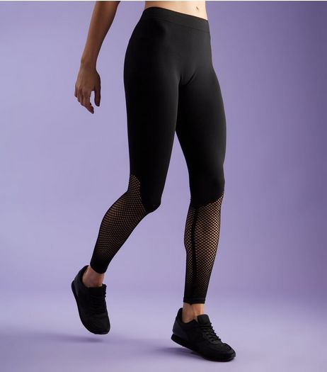 Black Mesh Panel Sports Leggings  | New Look