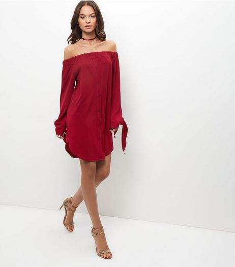 Cameo Rose Burgundy Tie Sleeve Bardot Neck Dress | New Look