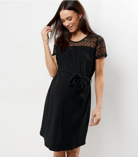 Maternity Black Lave Yoke Skater Dress  | New Look