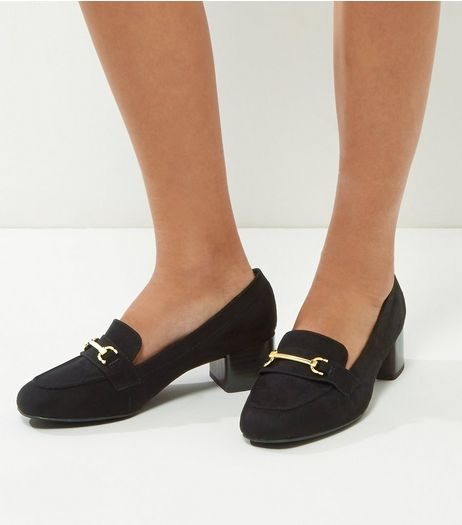 Wide Fit Black Comfort Suedette Block Heel Loafers | New Look