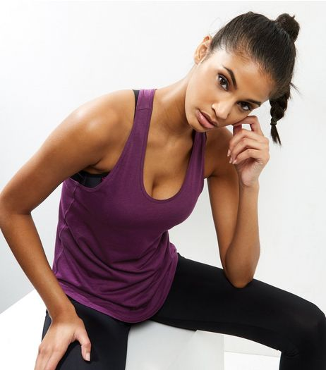 2 Pack Purple and Black Sports Vests | New Look