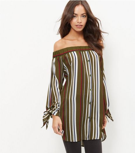 Cameo Rose Green Stripe Bardot Neck Tunic Top | New Look