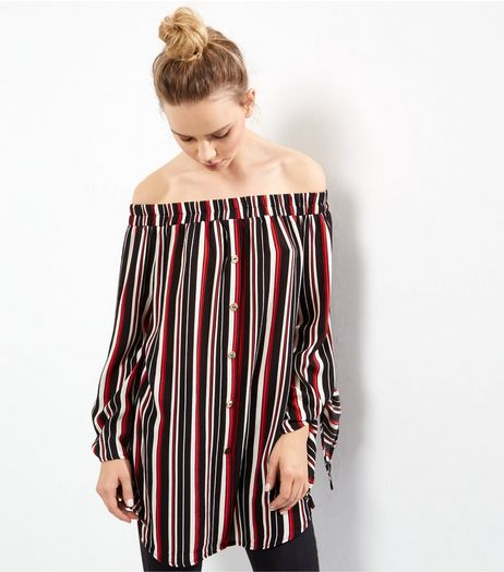 Cameo Rose Red Stripe Bardot Neck Longline Top | New Look