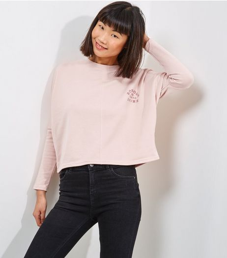 Mid Pink Logo Print Batwing Sleeve Sweater  | New Look