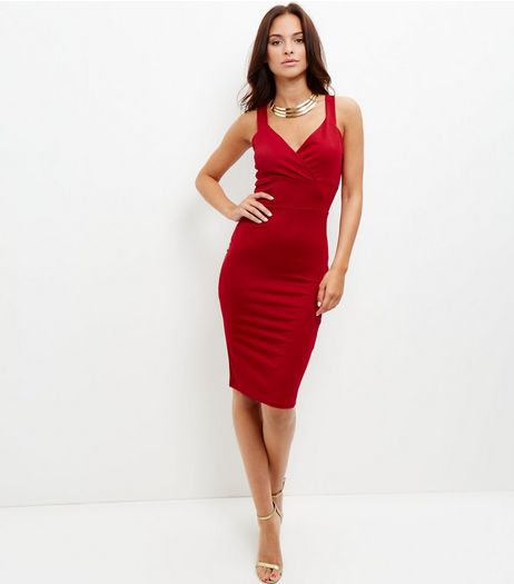 Cameo Rose Red Wrap Front Bodycon Dress | New Look