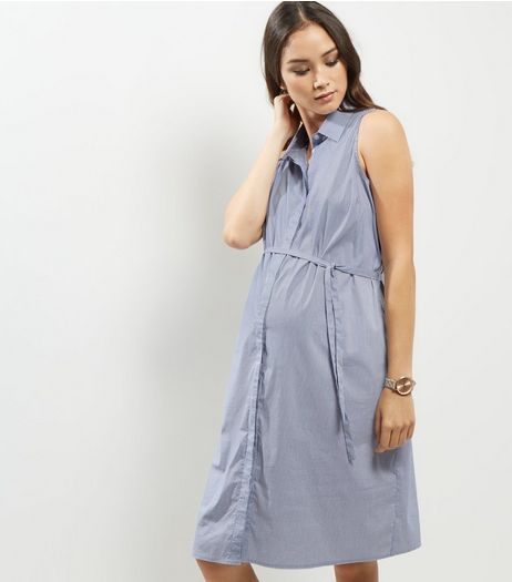 Maternity Blue Stripe Sleeveless Tie Waist Shirt Dress | New Look