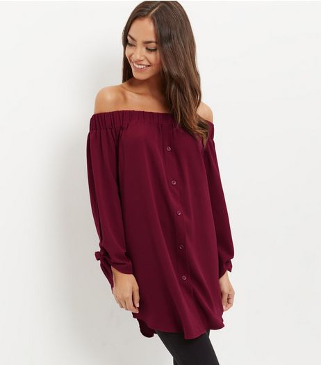 Cameo Rose Burgundy Tie Sleeve Tunic Top  | New Look